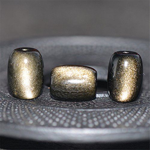 Gold Obsidian (Grade AAA Natural Double Rainbow Gold Obsidian Bead Barrel Shape NOT Dyed OB35)