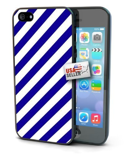 (Diagonal Navy Blue White Stripes Black Plastic Cover Case for iphone 6 plus 5.5 or 5s )