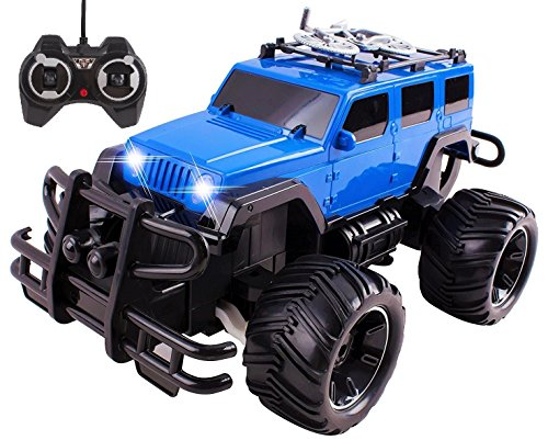 Remote Control Truck Jeep BigFoot Beast RC Monster Truck Car Ready to Run INCLUDES RECHARGEABLE BATTERY 1:16 Size Toy (Blue)