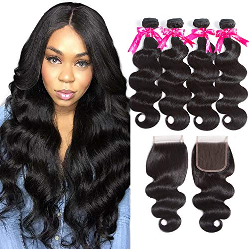 Brazilian-Human-Hair-4-Bundles-with-Closure-8A-Unprocessed-Brazilian-Hair-with-Lace-Closure-Free-Part-Double-Weft-Brazilian-Body-Wave-16-18-20-2214