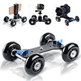 Selens Video Track Rail Stabilizer DSLR Camera Dolly Skater Tabletop Mobile Rolling Slider Car for Cameras Camcorder Rig (black)