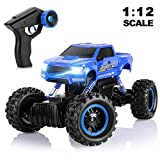 AOKESI RC Cars 1:12 Remote Control Monster Truck 4WD Dual Motors Rechargeable Off Road Remote Control Truck, Rock Crawler Vehicle Hobby Toy Gifts All Terrain Climbing Car for Kids/Teens/Adults- Blue