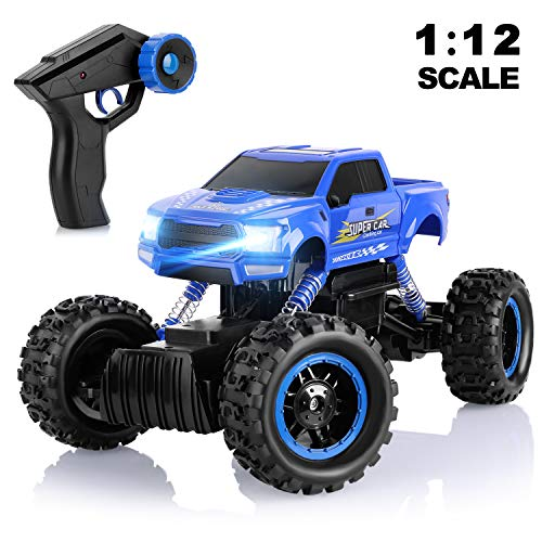 AOKESI RC Cars 1:12 Remote Control Monster Truck 4WD Dual Motors Rechargeable Off Road Remote Control Truck, Rock Crawler Vehicle Hobby Toy Gifts All Terrain Climbing Car for Kids/Teens/Adults- Blue (Best Rc Monster Truck For Kids)