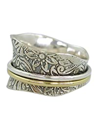 "Energy Stone ""TAPER"" Etched Floral Tapered Meditation Spinning Ring (Style SR21)"