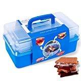 SUMPRI Smores Caddy with Two Folding Trays -Smore Box That Keeps Your Marshmallow Roasting Sticks/Crackers/Chocolate Bars Organized -Fire Pit Accessories Kit,Campfire Smore Skewers Storage Box (Blue)