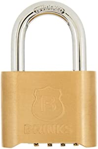 BRINKS 171-50051 48mm Solid Brass 4-Dial Resettable Combination Padlock