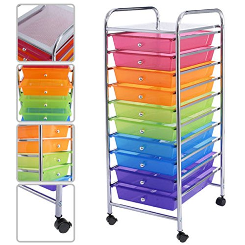 10 Drawer Storage Cart Scrapbook Paper Office School 10 Storage 13-Inch Organizer Utility Drawer Rolling Rainbow (Dressers And Chests Target compare prices)