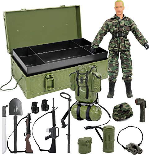 12 Figures Inch Military (Click N' Play CNP30503 Military Desert Camping 12