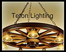 "The Rawhide! Rustic Wagon Wheel Chandelier, 42"", Large"