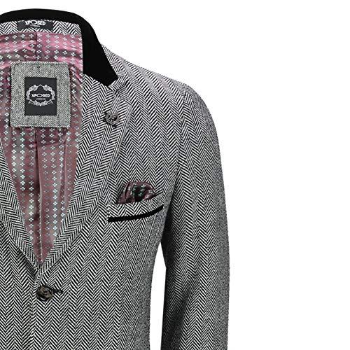 Mens Herringbone Tweed Wool 3//4 Long Overcoat Jacket Smart Formal Grey Black