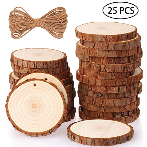 Fuyit Natural Wood Slices 25 Pcs 3.1-3.5 Inches Craft Wood Kit Unfinished Predrilled with Hole Wooden Circles Tree Slices for Arts and Crafts Christmas Ornaments DIY Crafts