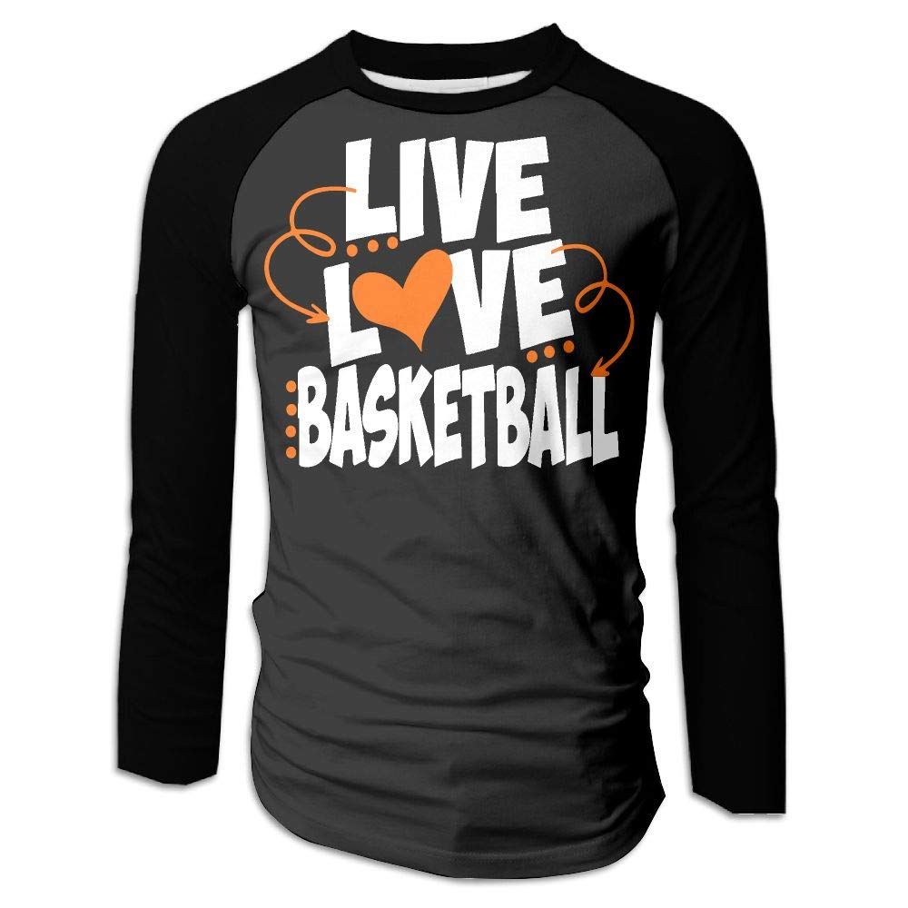 BFS/&33 Live Love Basketball Men Gym Crew Neck Long Sleeve Tshirt Raglan Tops