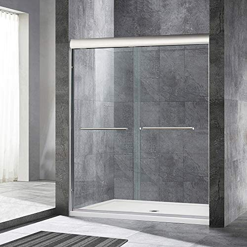 WOODBRIDGE 60 x 72 Double Sliding Frameless Shower 56 to 60 by 72 , Finish, MSDE6072-B, Bypass Door 60 x72 Brushed Nickel