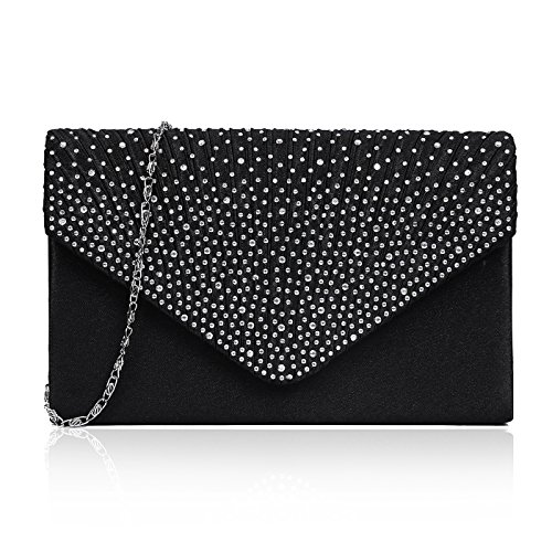 Black Satin Diamante Clutch Bag - 6