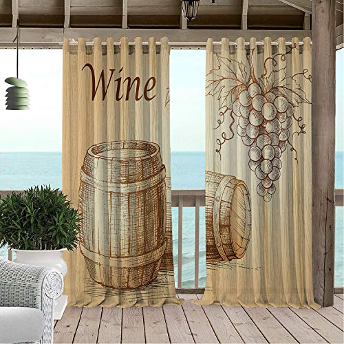 (Linhomedecor Gazebo Waterproof Curtains Wine Wooden Barrels and Bunch of Grapes on Wood Backdrop Botany Harvest Theme Artwork Brown Peach pergola Grommets Cabana Curtain 84 by 108 inch)