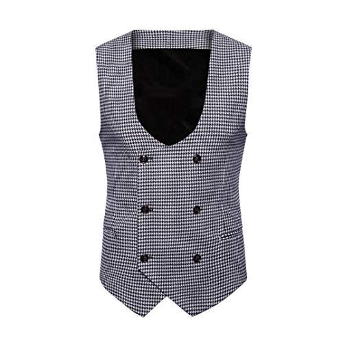Camicetta Cappotto Gentleman senza Stampa Adeshop Maglia Nero Outwear Vest britannico Moda Petto Abbigliamento Doppio Casual forti Chic Costume Giacca maniche Uomo Top 5 Taglie wxqwOn6