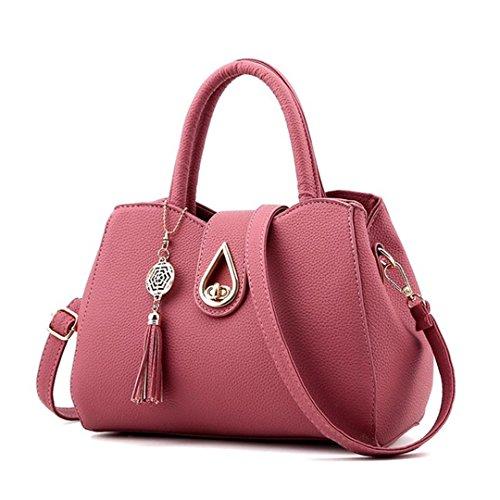 célèbre fourre Top sacs PU 20cmXLongueur sac cuir Sac Dark Tassel Femmes Arrivel gris main maxX30 tout Pink Messenger Sacs Femmes Handle Sac cm à 0zFq6
