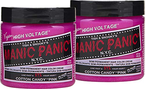 Manic Panic Cotton Candy Pink Hair Color Cream (2-Pack) Classic High Voltage Semi-Permanent Hair Dye - Vivid, Pink Shade For Dark Light Hair - Vegan, PPD & Ammonia-Free - Ready-to-Use, No-Mix Coloring