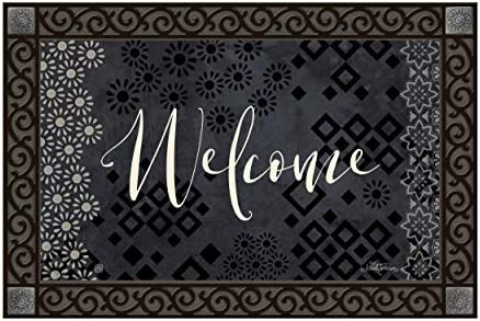 Studio M MatMates Shadow Welcome Decorative Floor Mat Indoor or Outdoor Doormat with Eco-Friendly Recycled Rubber Backing, 18 x 30 Inches