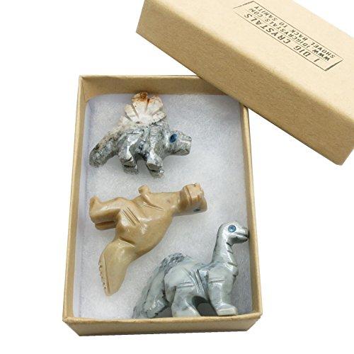 Soapstone Dinosaur 06 Set of Three Gray Tan Stone Carving Miniature Lot (Gift Box)