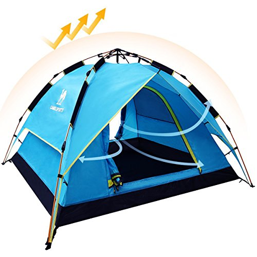 CAMEL Camping Zelte, 3-4 Person Wasserdichte Doppelschicht automatische Instant Pop Up Hydraulische Familie Beach