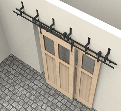 HD-ABDBP # Powder Coated Steel Modern Bypass Sliding Barn Door Hardware Kit for Storage Room, Laundry Room, Master…