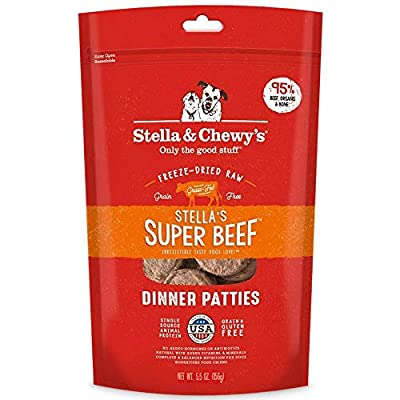 Stella & Chewy's Freeze Dried Dog Food for Adult Dogs, Beef Patties, 5.5 Ounce Bag (3 Pack)