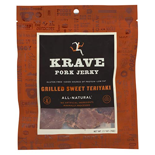 KRAVE Pork Jerky, Grilled Sweet Teriyaki, Low Fat 2.7 Ounce (Pack of 8)