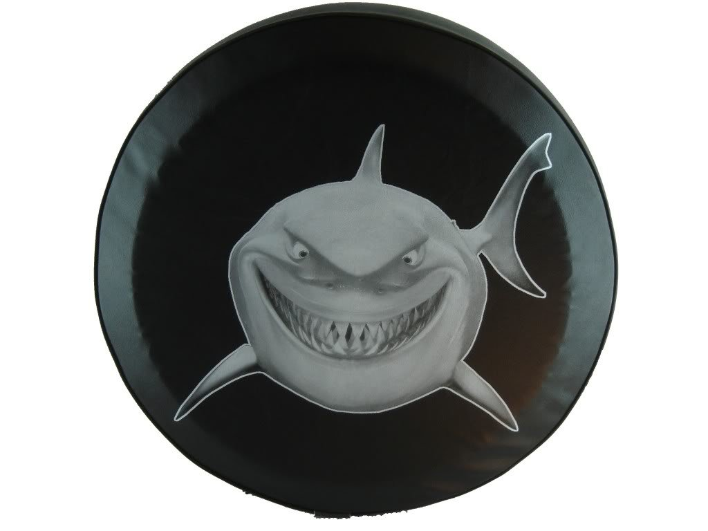 SpareCover abc-great-white-27 ABC Series Black 27 Tire Cover with Great White Shark Design
