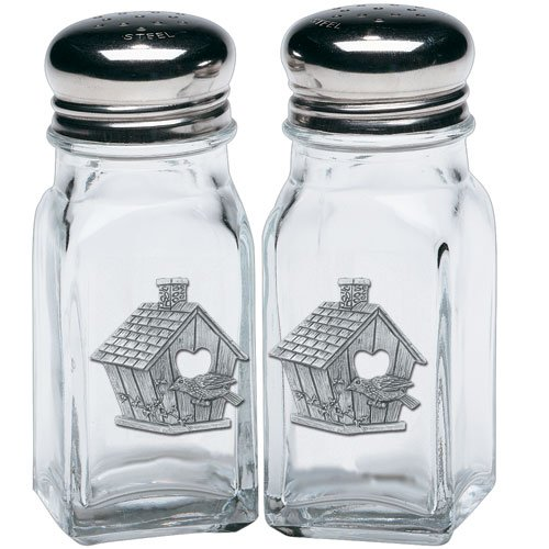 - Heritage Pewter Birdhouse Salt & Pepper Shakers
