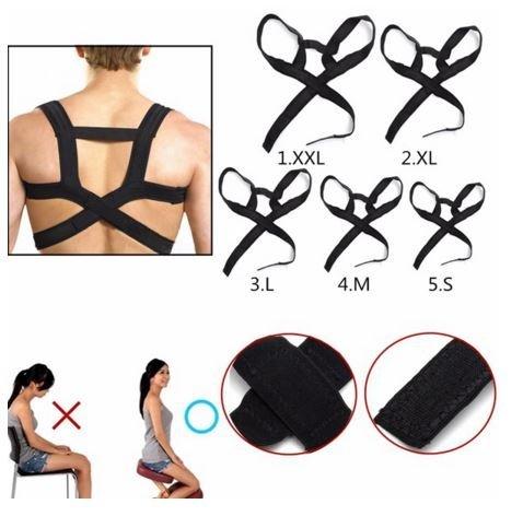 Size:M,Men Women Adjustable Back Support Belt Posture Correction Correct Brace Shoulder Corrector by SiamsShop