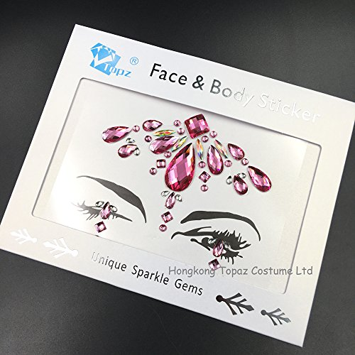 desert ROSE face jewels gems glitter sticker Crystal Temporary Eyes Tattoo Transfer 3d body gem Stickers(Rose)