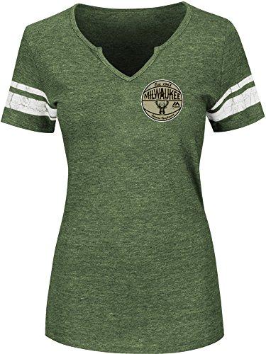 VF LSG NBA Milwaukee Bucks Women's Never Defeated Short Sleeve Notch Neck Tee, XX-Large, Dark Green Heather/White