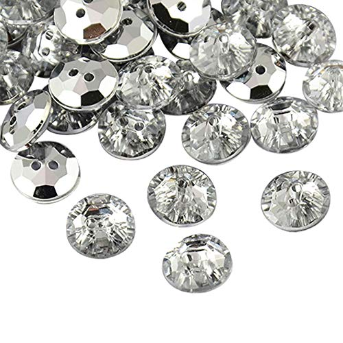 arricraft 144 Pcs 2-Hole Taiwan White Acrylic Rhinestone Flat Round Buttons Faceted & Silver Plated Rivoli Back for Jewelry Making