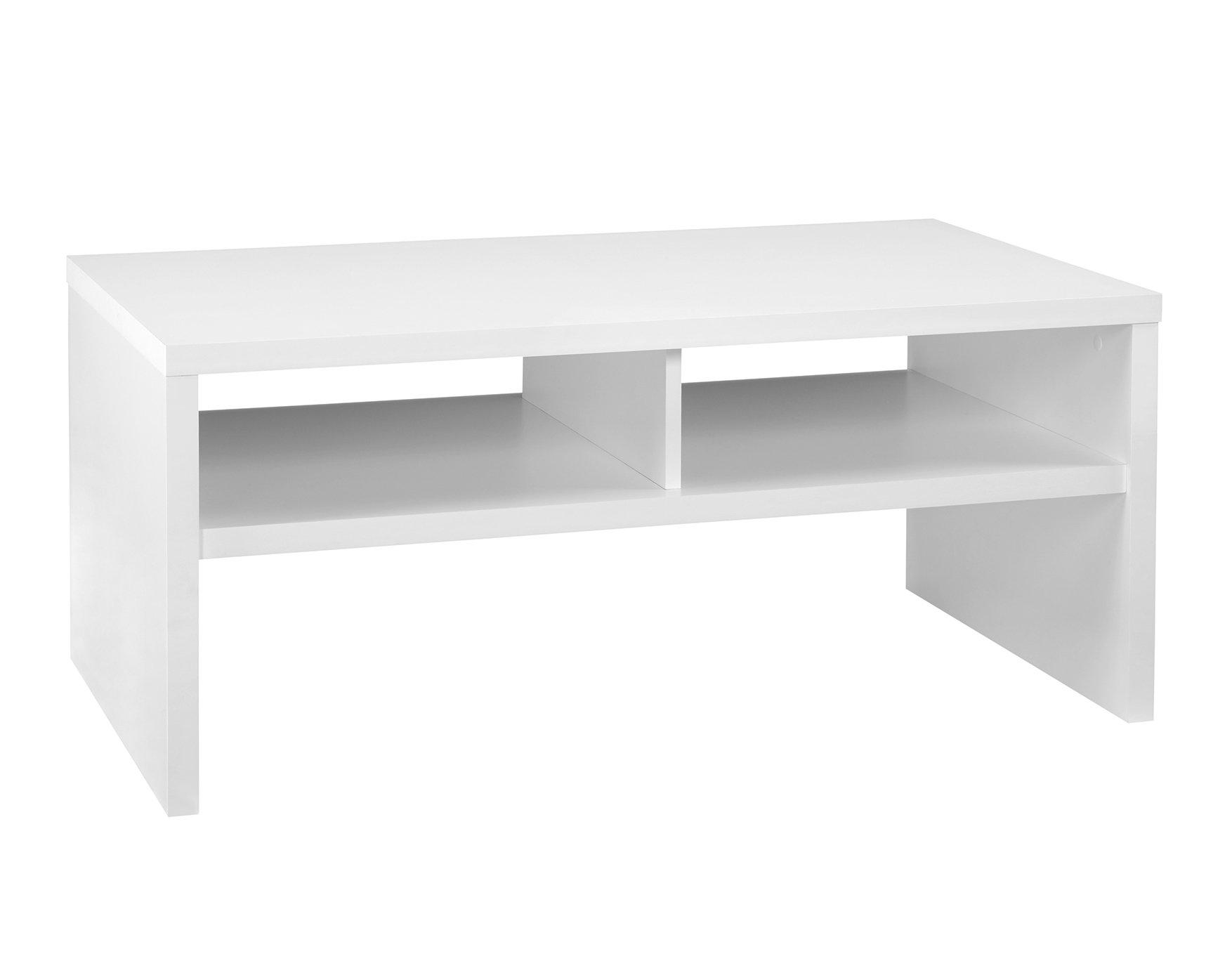 ClosetMaid 1654 Rectangular Coffee Table with Storage Shelves, White