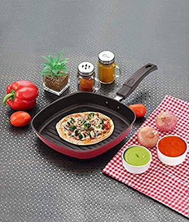 BMS Lifestyle Die Cast Non Stick Grill Pan, Red