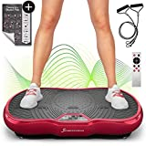 Sportstech Power Vibration Plate VP200 with Bluetooth, Innovative Oscillation Technology for Using at Home. Incl. Training Poster+ Power Ropes + Remote Control + Integrated Loudspeaker (Bordeaux)