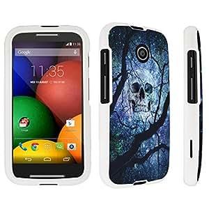 DuroCase ? Motorola Moto E (2014 Released) Hard Case White - (Black Skull Space Black Tree)