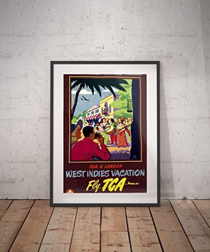 west Indies Nassau Jamaica Trinidad Barbados west Indies Travel Poster Caribbean Travel Poster Wall Decor Vintage ()