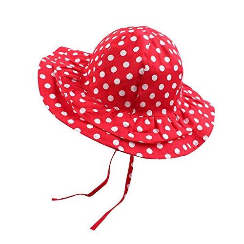 (Red Baby Girls Sun Hat Summer Wide Brim Beach Hat for Girls Toddler Kids Cotton Hat 1-4Y (M))