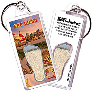 "product image for San Diego ""FootWhere""Keychain (SD102 - Sunset). Authentic Destination Souvenir acknowledging Where You've Set Foot. Genuine Soil of Featured Location encased Inside Foot Cavity. Made in USA."