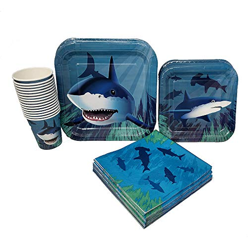 Shark Standard Party Packs (65+ Pieces for 16 Guests!), Shark Tableware, Shark Party Supplies]()