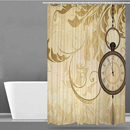 ONECUTE Bathroom Curtains,Clock A Vintage Grungy Background Design with Pocket Watches on Chain Romantic Retro Art Print,Bathroom Curtain Washable Polyester,W55x86L Brown