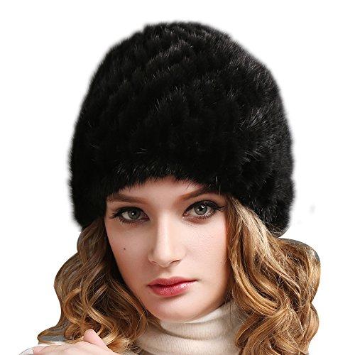 FURTALK Womens Girls Real Mink Fur Knitted Hat Winter Beanie Warm Cap
