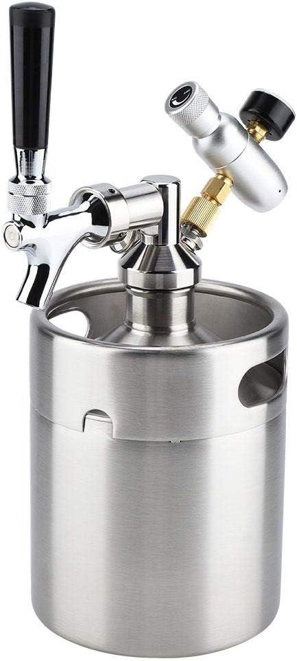 Barril de Cerveza de Acero Inoxidable, Mini Barril de Cerveza de 2L con Grifo Sistema de Dispensador para Hogar y Hotel