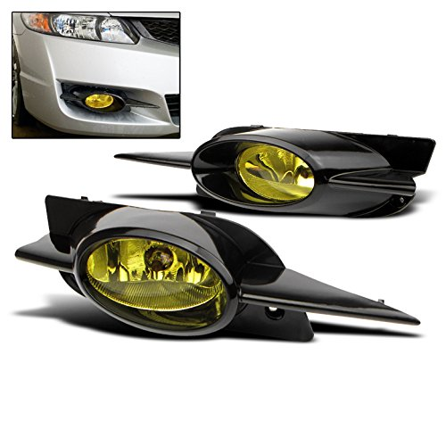 ZMAUTOPARTS Honda Civic Coupe 2Dr Bumper Driving JDM Yellow Fog Light Lamp+Bulb+Switch