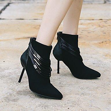 Heart&M Mujer Zapatos Cuero Nobuck Tejido Otoño Invierno Botas de Moda Botas de Combate Botas Tacón Stiletto Dedo Puntiagudo Botines Hasta el black