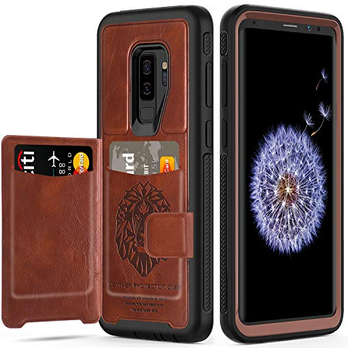 Galaxy S9+ Plus Case with Built-in Magnetic Backing,EXTech (Leather Cover Series) Slim Yet Protective with Card Holders.Kickstand Wallet Case Fit for Samsung Galaxy S9 Plus 6.2 inch (2018) -Brown