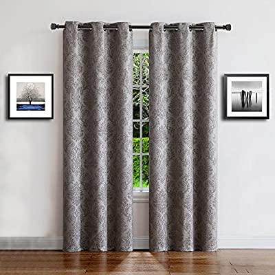 0d81ee0ddc97 Warm Home Designs 1 Pair (2 Panels) of Light Gray (Silver) Insulated  Thermal Blackout Curtains with Embossed Textured Flower Pattern.