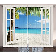 Turquoise Curtains Decor by Ambesonne, Tropical Palm Trees on Island Ocean Beach Through White Wooden Windows, Living Room Bedroom Window Drapes 2 Panel Set, 108W X 84L Inches, Blue Green and White
